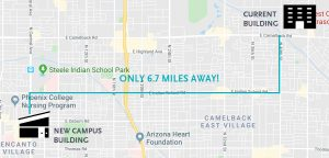 Map showing the distance between the current Phoenix campus and the new location
