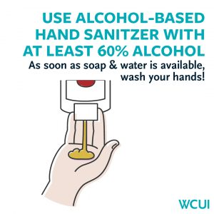 Use hand sanitizer with 60% alcohol